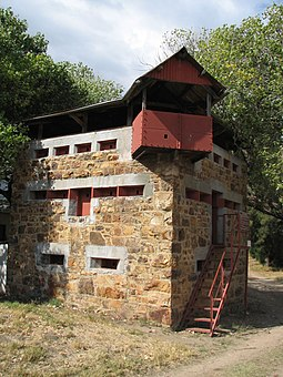A surviving blockhouse in South Africa. Blockhouses were constructed by the British to secure supply routes from Boer raids during the war. BoerWarBlockHouse SouthAfrica.jpg