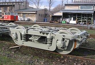 Equalising beam - Railcar bogie, with equalising beam