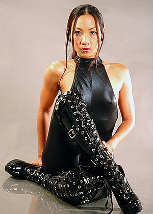 Boot fetishism - A model wearing boots.