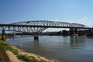 Shreveport, Louisiana - The Long–Allen Bridge, a railroad bridge spanning the Red River to connect Shreveport with Bossier City, as photographed from Bossier City