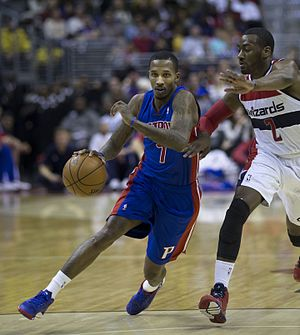 Brandon Jennings - Jennings with the Pistons in 2014.