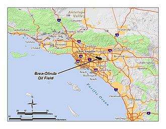 Brea-Olinda Oil Field - Location of the Brea-Olinda Oil Field in Southern California.  Other oil fields are shown in dark gray.