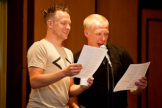 """Brian Brushwood - Brian """"Shwood"""" Brushwood and Evan Bernstein during a live recording of The Geologic Podcast at Dragon*Con 2011 in Atlanta, GA"""