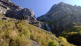 Bridal Veil Falls (Utah) - Image: Bridal Veil Falls Utah hiking trail ascent