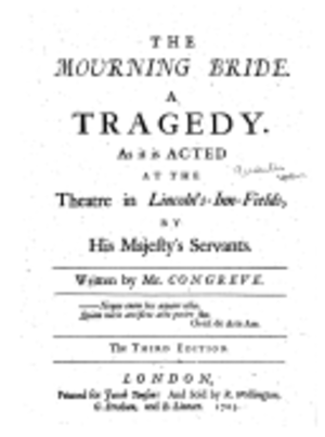 The Mourning Bride - Frontispiece of The Mourning Bride published in 1703