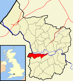 Map showing Southville ward to the west of the centre of the city