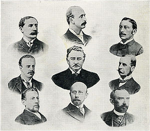 British South Africa Company - The first board of directors of the British South Africa Company, 1889. Top Row: Horace Farquhar; Albert Grey; Alfred Beit. Middle Row: the Duke of Fife; C. J. Rhodes (Founder and managing director in South Africa); the Duke of Abercorn. Bottom Row: Lord Gifford, V.C.; Herbert Canning(Secretary); George Cawston.