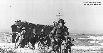 17th Armored Engineer Battalion - American and British troops landing near Gela, Sicily, 10 July 1943