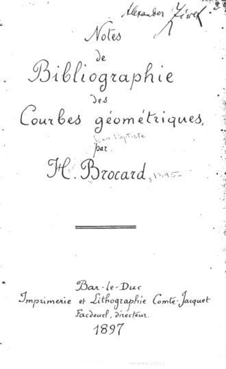 Henri Brocard - The first page of Henri Brocard's Notes de bibliographie des courbes géométriques.
