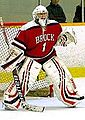 Brock Badgers women red goalie 2014.jpg