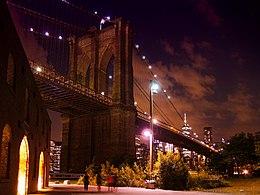 Brooklyn Bridge at Night taken from Brooklyn Bridge Park