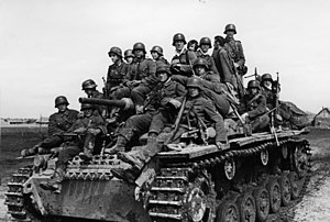 Battles of Rzhev - Panzer III carrying infantry in March, 1942