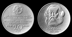 East German mark - A 20 Mark coin featuring Karl Marx; issued in 1983 to commemorate the 100th Anniversary of his death.
