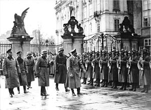Hitler on his visit to Prague Castle shortly a...