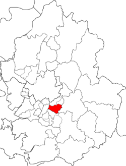 Map of Gyeonggi highlighting Bundang-gu.