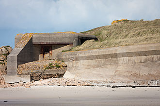 Coastal fortifications of Jersey - Casemate gun emplacement and anti-tank wall in Saint Ouen's Bay