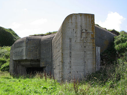 German fortifications, built during the Second World War, are presently scattered throughout the landscape of the Channel Islands Bunker in Alderney.JPG