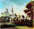 Burg und alte Kirche Uster vor 1823, Ölgemälde undatiert, nicht datiert, Stadtarchiv Uster -korrigiert-.jpg