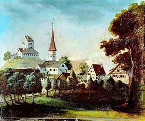 Uster Reformed Church - Uster castle and church before the old church was demolished in 1823, oil by unknown painter, Stadtarchiv Uster