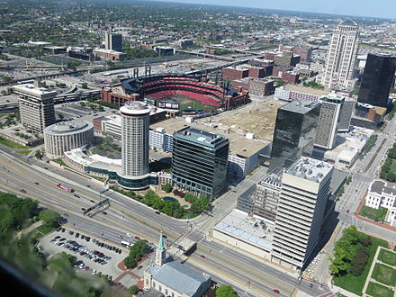 Busch Stadium as seen from the top of the Gateway Arch in May 2013. Busch Stadium from top of the Gateway Arch.JPG