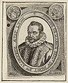 Buste van Filips van Marnix, heer van Sint-Aldegonde op 59-jarige leeftijd, gekleed in bontmantel en geplooide kraag, in ovaal met Latijns randschrift. NL-HlmNHA 1477 53009283.JPG