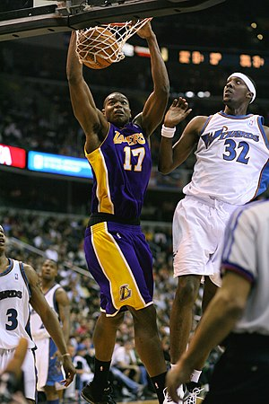 Andrew Bynum playing with the Los Angeles Lakers