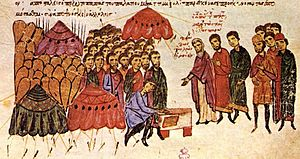 Byzantine–Bulgarian war of 913–927 - The Byzantine soldiers take an oath on the eve of the battle of Achelous, Madrid Skylitzes.