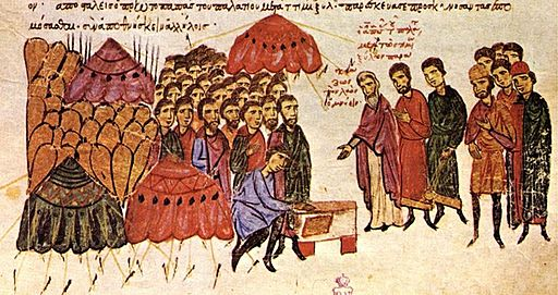 Byzantine army taking oath before the battle of Anchialus