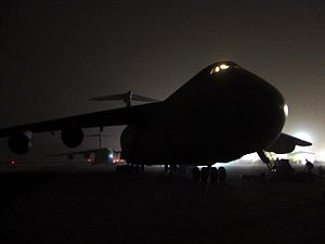 436th Airlift Wing - C-5 illuminated at night