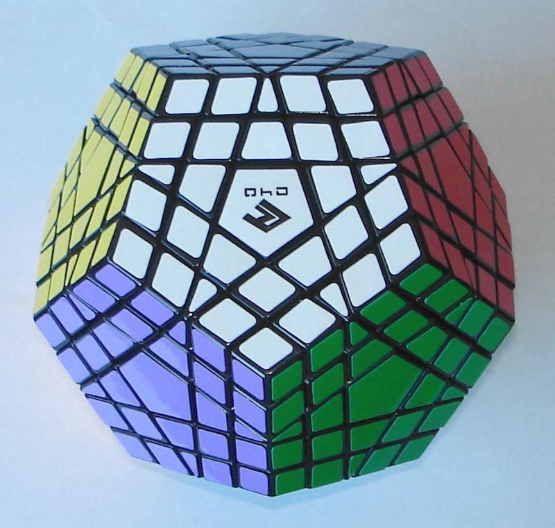 Photograph of a Gigaminx puzzle