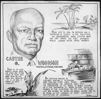 Carter G. Woodson - Carter Woodson biographical cartoon by Charles Alston, 1943