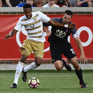 River Cities Cup - Mark-Anthony Kaye of Louisville and Austin Berry of Cincinnati face off in the 2017 Lamar Hunt U.S. Open Cup.