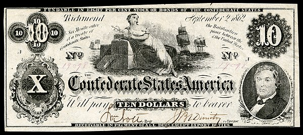 Ceres reclining on a cotton bale and holding a caduceus, on an 1861 $10 CSA banknote.