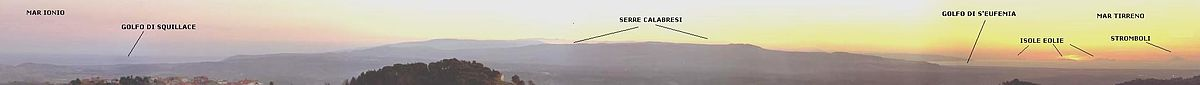 Panorama dei due mari visto da Catanzaro nord
