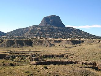 """Cabezon Peak - Cabezon Peak is a volcanic plug located near the """"ghost town"""" of Cabezon, New Mexico"""