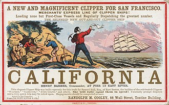Gold rush - The fastest clipper ships cut the travel time from New York to San Francisco from seven months to four months in the 1849 Gold Rush.