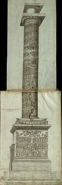 Side view of the Column of Arcadius, with carved reliefs of scenes and figures on the pedestal, on the socle and spiralling up the column shaft, capped by a capital and a statue's empty plinth. A door at ground level giving access to the spiral staircase within is visible.