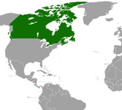 Map indicating locations of Canada and El Salvador