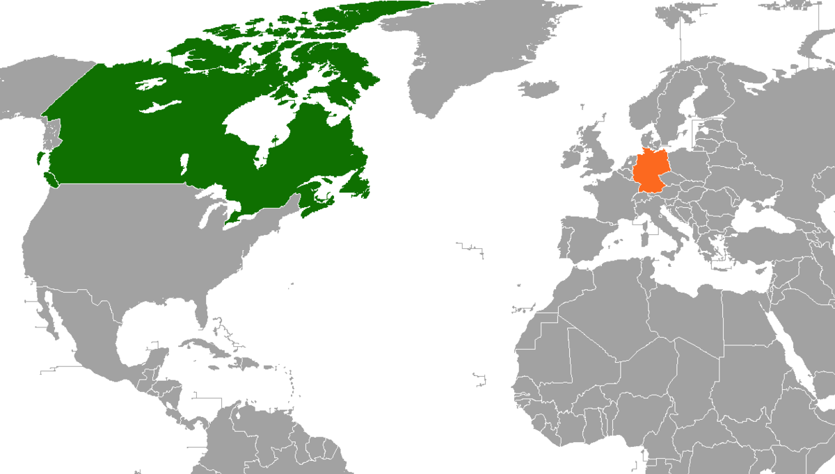 CanadaGermany Relations Wikipedia - Germany map in world map