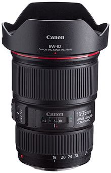 028449c54e The Canon EF 16–35mm f/4L IS USM lens with its included EW-82 hood