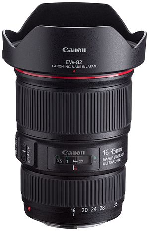 Canon EF 16–35mm lens - The Canon EF 16–35mm f/4L IS USM lens with its included EW-82 hood