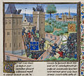 Capture of Wark Castle - Froissart, Chroniques de France et d'Angleterre, Book II (c.1460-1480), f.345 - BL Royal MS 18 E I.jpg