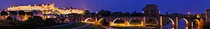 Aude (river) - The fortified city of Carcassonne and the old bridge crossing the Aude river at night