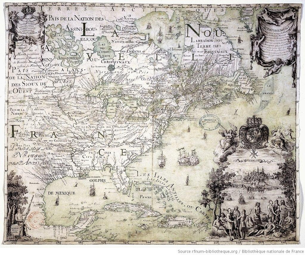 Carte de la nouvelle France 1702-11 Franquelin Jean Baptiste