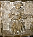 Carving of angel with musical instrument on font - geograph.org.uk - 664368.jpg