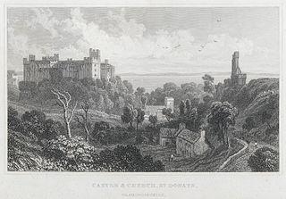 Castle & church, St. Donats, Glamorganshire