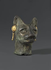 Cat's Head , 30 BC to third century AD Bronze, gold. Brooklyn Museum