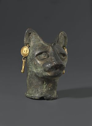 Cats in ancient Egypt - Cat's Head, 30 BC to third century AD Bronze, gold. Brooklyn Museum