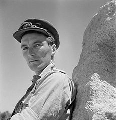Cecil Beaton portrait of a Royal Artillery officer leaning against a rock in the Western Desert, 1942. CBM1363.jpg