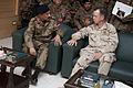 Chairman of the Joint Chiefs of Staff Navy Adm. Mike Mullen speaks with Pakistani army Lt. Gen. Ahmed Shafqaat, the commander of II Corps, in Multan, Pakistan, Sept 100902-N-TT977-041.jpg